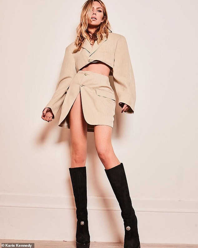 Chic:Abbey Clancy looked incredible as she showcased her toned legs in a stunning new fashion shoot this week