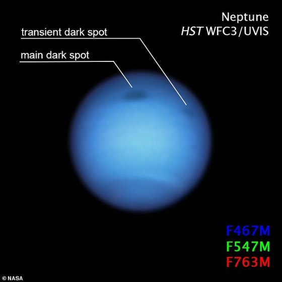 This major storm was not alone, according to the UC team.  Images captured by Hubble in January 2020 revealed a small dark-like spot on Neptune