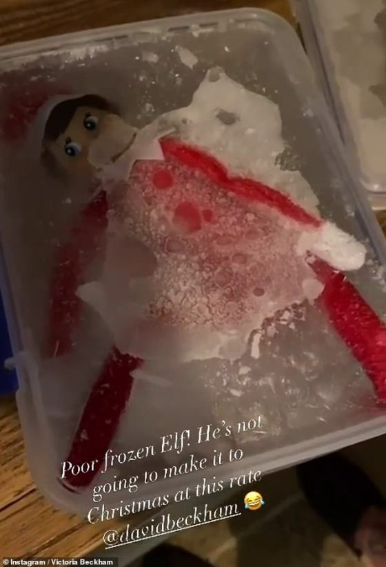 Oops!  The night before, Victoria and husband David revealed that they had already frozen the elf in a box of ice, joking that he `` wouldn't make it to Christmas ''
