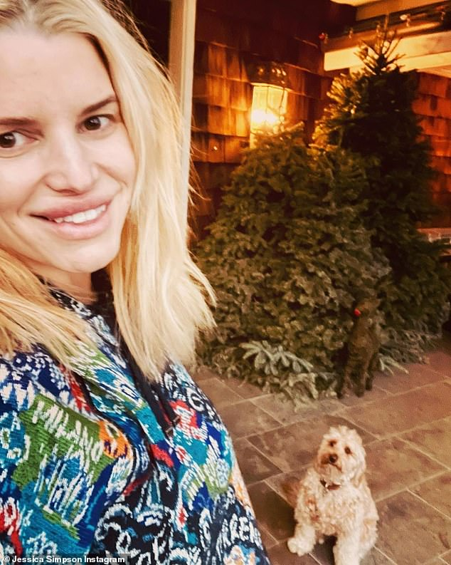 Puppy love: Jessica shared a photo depicting her hanging out with her Maltipoo pup Dixie