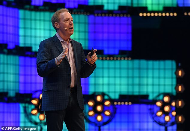 """Microsoft President Brad Smith (pictured in November 2018) said: 'This is not ''espionage as usual,"""" even in the digital age. Instead, it represents an act of recklessness that created a serious technological vulnerability for the United States and the world'"""
