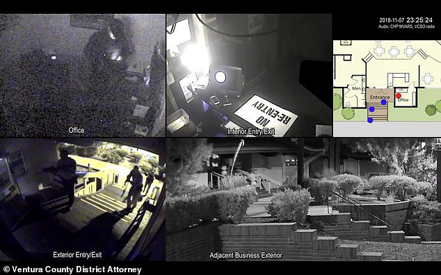 The video footage, complied by the Ventura County's District Attorney's Office offers a multi-angle view of the officers entering the restaurant as Long lies in wait inside the venue's office