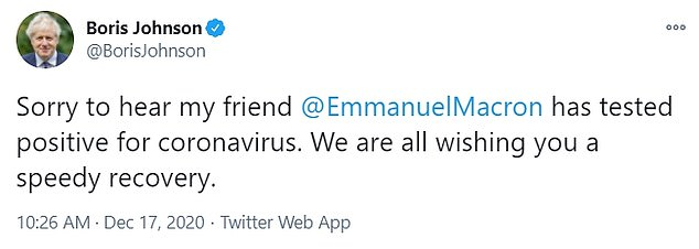 Prime Minister Boris Johnson, who was snubbed by Mr Macron during face-to-face Brexit talks, tweeted: 'Sorry to hear my friend @EmmanuelMacron tested positive for coronavirus.  We wish you all a speedy recovery.