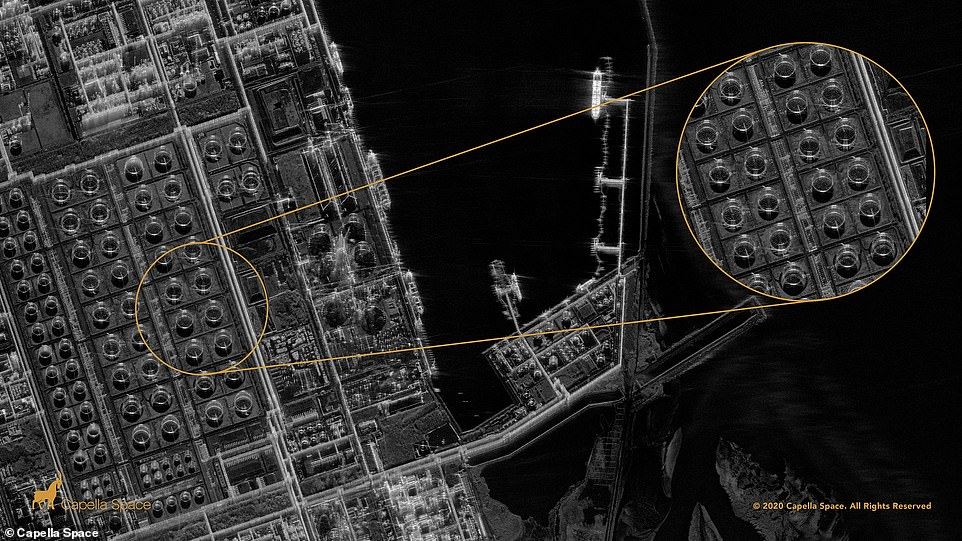 The satellite is capable of 50cm x 50cm resolution imaging with its latest update called Spotlight mode that allows for long exposures up to 60 seconds over an area of interest (AOI), which results in 'crystal clear' pictures. Pictured is theMailiao Oil Refinery, Taiwan