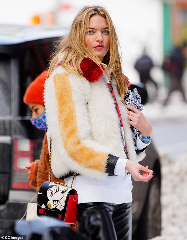 Wintertime work: Martha Hunt was spotted on the New York City set of a photoshoot for Medicom Be@rbrick on Thursday