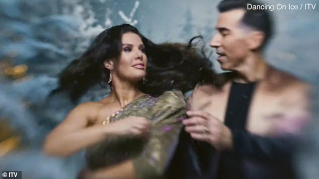 What drama?Rebekah Vardy led the celebrities twirling in a snow globe in the first promo for Dancing On Ice 2021 (above with partner Andy Buchanan)