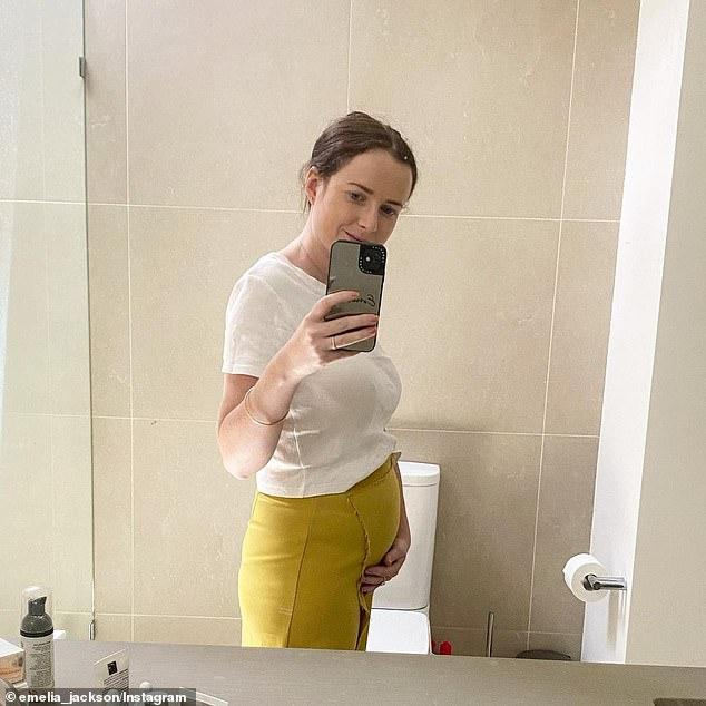 Baby joy! Emelia announced her pregnancy in December, uploading this photo on Instagram of herself cradling her baby bump