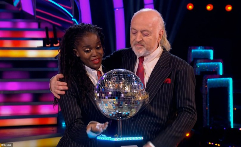 Sweet: The comedian became the oldest champion in the show's history as he scooped the Glitterball trophy on Saturday, and paid tribute to his professional partner for 'turning him into a dancer'