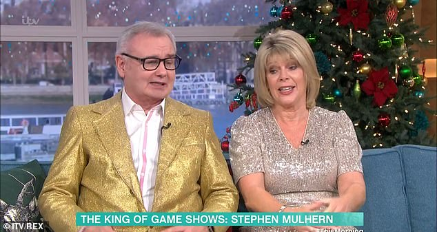 Claims:Eamonn Holmes and his wife Ruth Langsford have reportedly been told to keep quiet about their axing from This Morning (pictured during their last Friday show earlier this week)