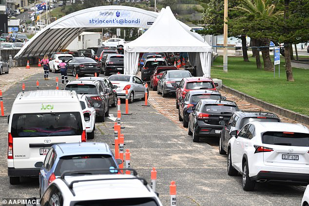 There was also a massive queue for testing in the eastern outskirts of Bondi on Sunday