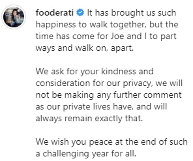 'The time has come for Joe and I to part ways': On Sunday night, however, their fairytale came to an end when Melissa announced her separation from Joe on Instagram