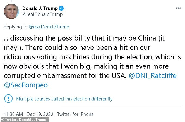 President Donald Trump hit out at Pompeo in a tweet on Saturday, downplaying the severity of the hack and shifting blame to China