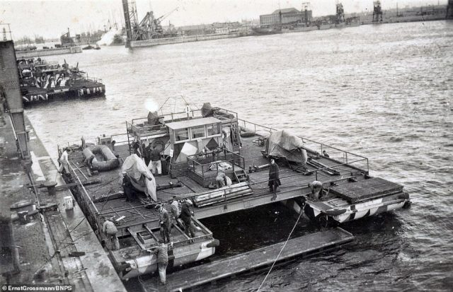 Many of them show some of the 150 flat-bottomed landing craft Germany designed and built ahead of the invasion, codenamed Operation Sealion
