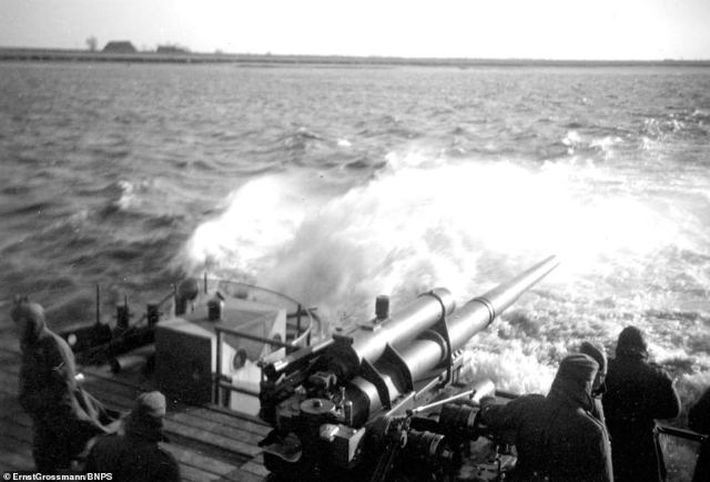 One of the heavy guns overhangs the wake of the powerful craft.The Siebel Ferries that were built were later used by the Germans in other theatres of war, such as in the Norwegian fjords