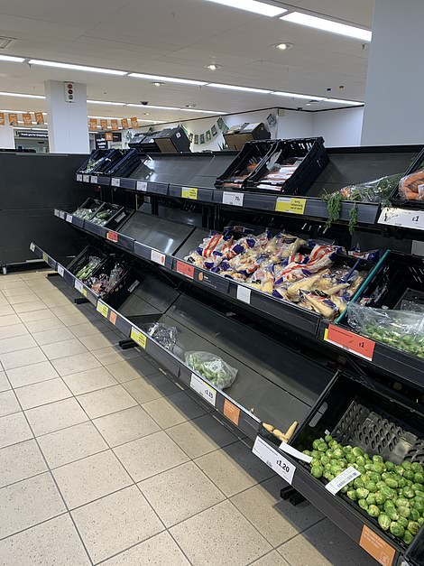 There were empty spaces in the vegetable aisle at this Sainsbury's store amid fears the French travel ban could limit food supply chains