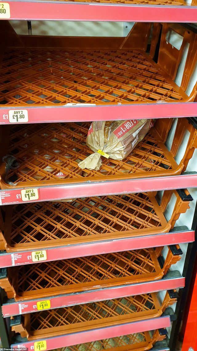 Staple items like bread were in short supply at this Iceland supermarket in north London this morning