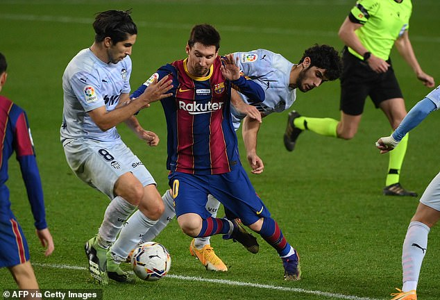 Barcelona captain Lionel Messi has been on the pitch for a total of 4,293 minutes in 2020
