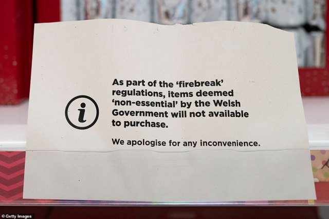 The note said items deemed 'non-essential' under the 'firebreak' lockdown regulations would not be sold
