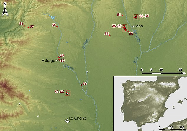 Roman military presence in Leon. Image shows the location of the remaining sites in red, numbered from 26 to 66.