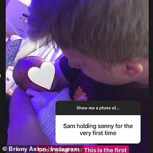 Aw!Also included in the series of photographs was the first time Sam held his son in his arms, as Briony wrote: 'Ohh good one! This is the first photo I have from when he's a day old, Sam might have some from earlier. But look at how tiny Sonny's head was'