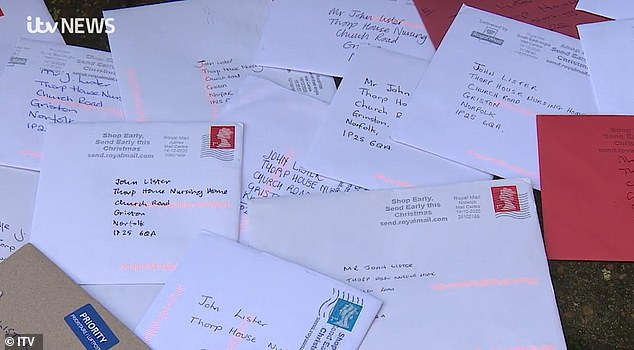 Grief-stricken Mr Lister told of loneliness in a local TV interview as he wiped away his tears and said: 'It's being lonely.' He has now been sent more than 7,000 Christmas cards (pictured)