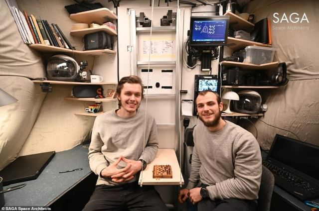 The two man team playing chess inside the heart of the habitat.Aristotelis (right) told MailOnline that lessons learnt from the expedition can benefit mental health