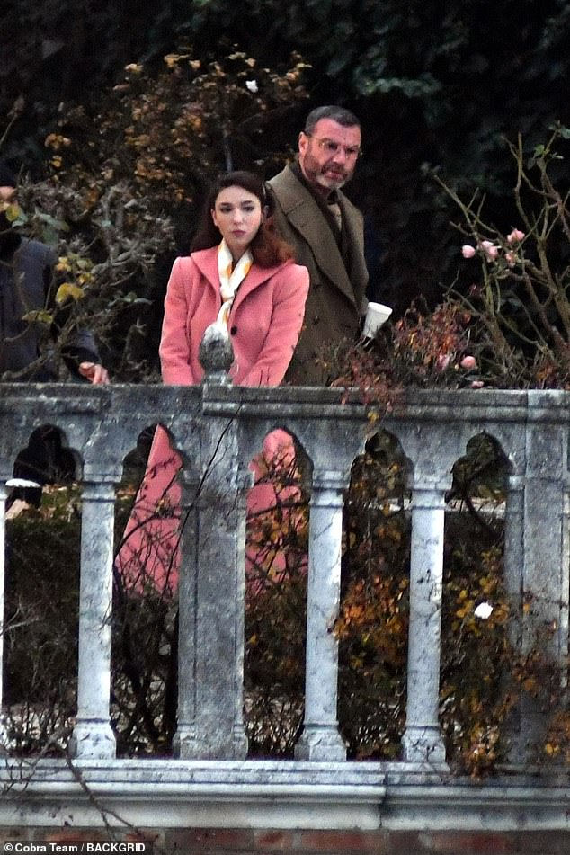 Busy schedule: The Undoing's Matilda De Angelis put on a chic display in a pink coat as she got to work on set of Across The River And Into The Trees with Liev Schreiber in Venice on Tuesday