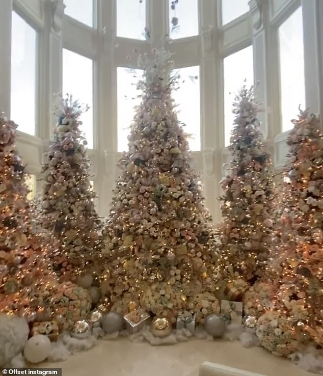 Wow!Offset showed off their extravagant Christmas set up. The rapper, 29, shared a video to his Instagram story featuring their five Christmas trees at their home