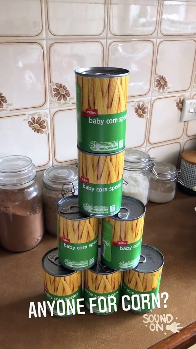 Corn confusion: The Project host, 39, was left baffled by the bizarre substitutions she was sent by a major supermarket, after receiving multiple cans of baby corn she hadn't ordered