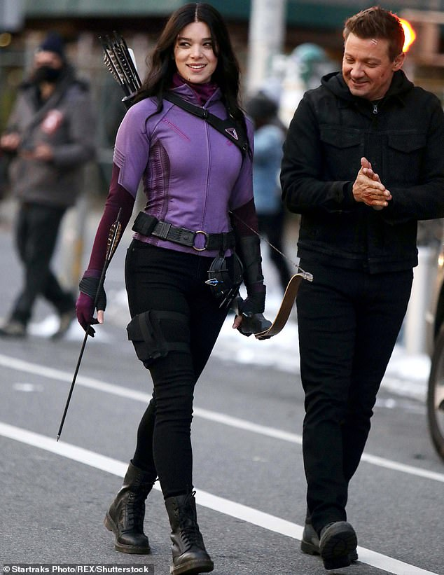 Side by side:She has been seen filming the new Hawkeye show for weeks with her sizzling co-star Jeremy Renner; they are seen during a New York shoot day on December 9