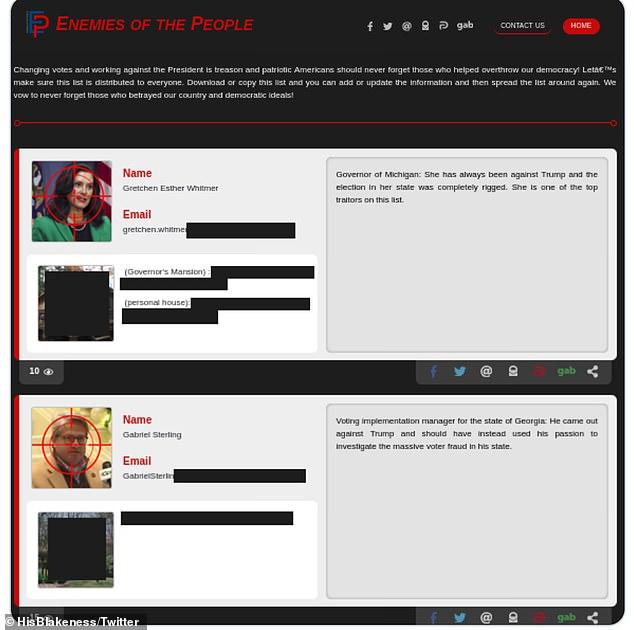Ppictures and addresses were posted to the 'Enemies of the People' site with targets placed over images. Others singled out say they have received death threats