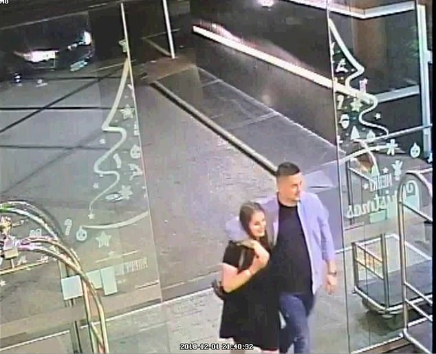 CCTV footage showed Kempson's muscular arms draped around Grace's neck as they strode towards the front door of the hotel and entered a lift