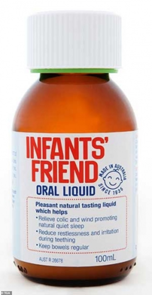 The Therapeutic Goods Administration have recalled Infants' Friend oral liquid (pictured)