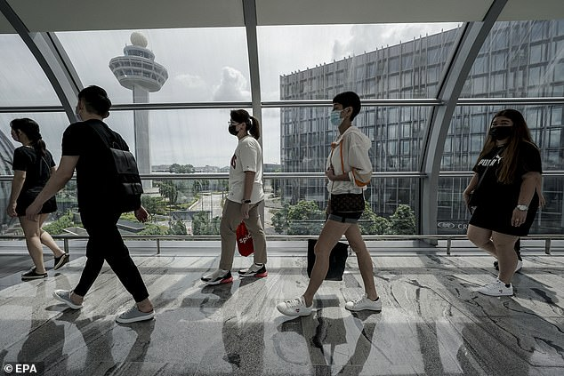 Singapore (pictured: Passengers at Jewel Changi airport in Singapore) will ban entry to UK travellers from Wednesday night. Health officials in the Philippines have also announced plans to suspend flights from the UK from Christmas Eve