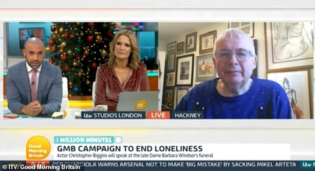 Loss: Discussing his late friend's death with hosts Charlotte Hawkins and Alex Beresford, Christopher agreed that the news of her death was 'devastating'