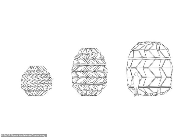 Three-stage folding process demonstrated in design sketches.By implementing the process behind the ancient Japanese art of paper folding, the designers say they have created a lightweight and strong structure