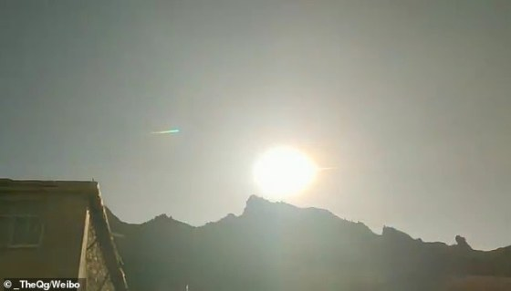 A huge fireball was spotted shining in the sky over Nangqian in China this morning