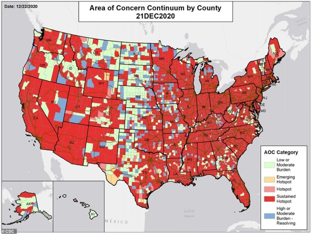This map, which is included in the latest community report from the White House COVID-19 Task Force,tracks areas of concern on a county level across the country.The majority of counties currently fall into the 'sustained hotspot' category, which means they are communities that have a high number of cases and may be at an even higher risk of overwhelming their local hospitals