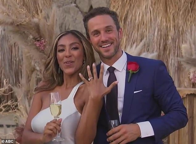 Bling it on: The Bachelorette ended with a proposal on Tuesday evening. And the show's star, 30-year-old Tayshia Adams, was not disappointed as her new fiance Zac Clark presented her with a stunning 3.25 carat diamond ring from Neil Lane