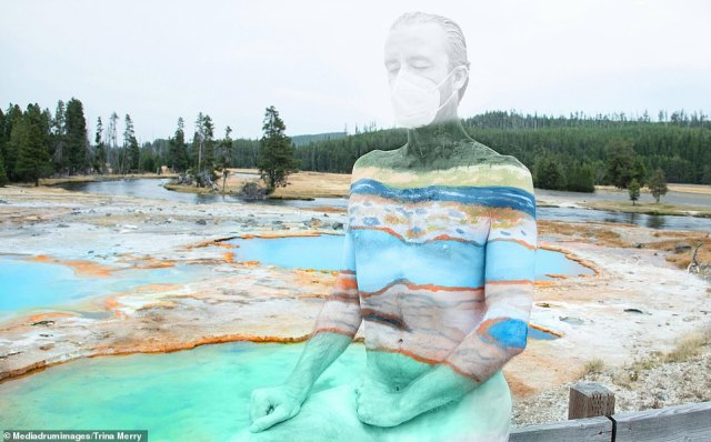 Voila!In the mind-bending collection, models who have had their bodies painted by hand can be spotted as they camouflage into the likes of theBiscuit Basin Thermal Pools at Yellowstone
