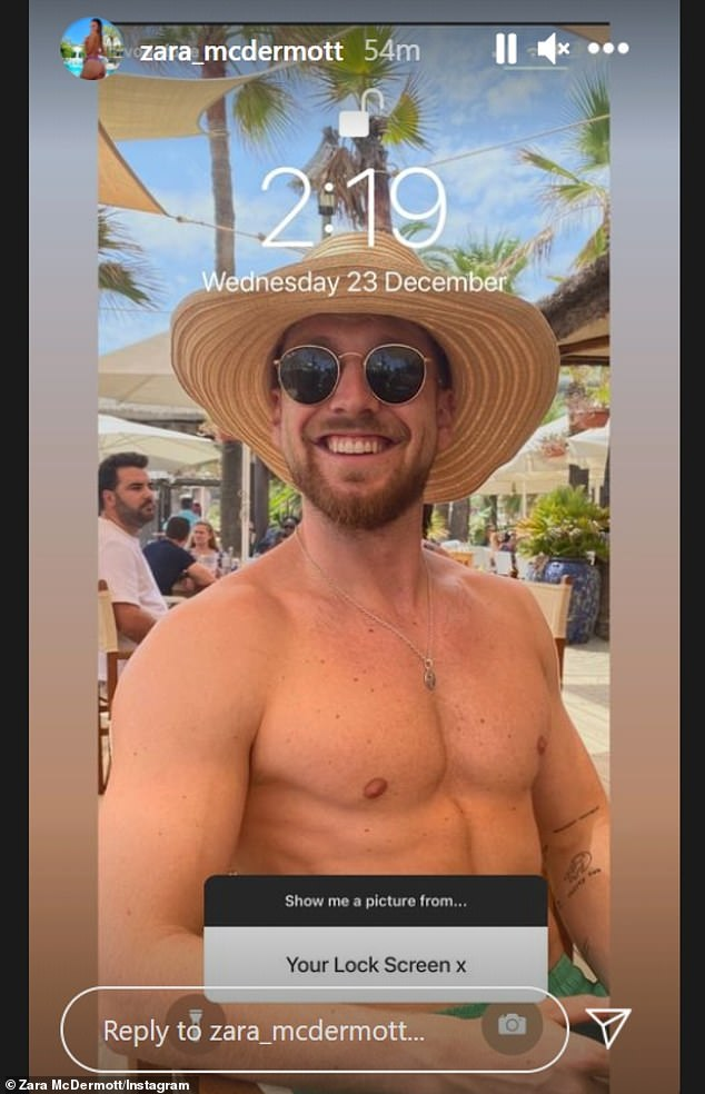 Locked: Taking part in the photo challenge, Zara showed that Sam was her lock screen picture