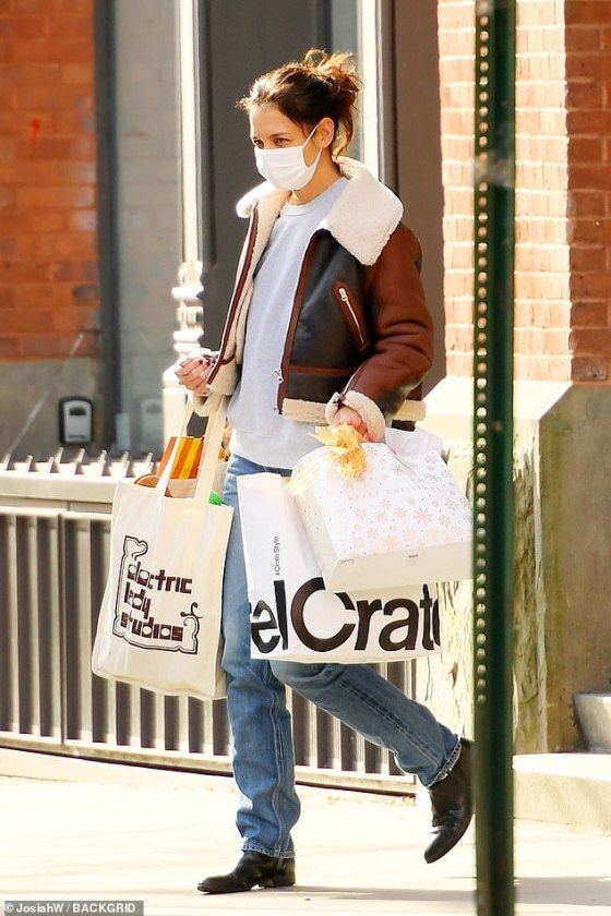 Shop until you fall!  Katie Holmes was finishing her last-minute holiday shopping in New York on Wednesday