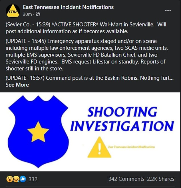 Initial reports indicated there was an active shooter in the store however police confirmed no victims have been reported and there is no 'ongoing danger'