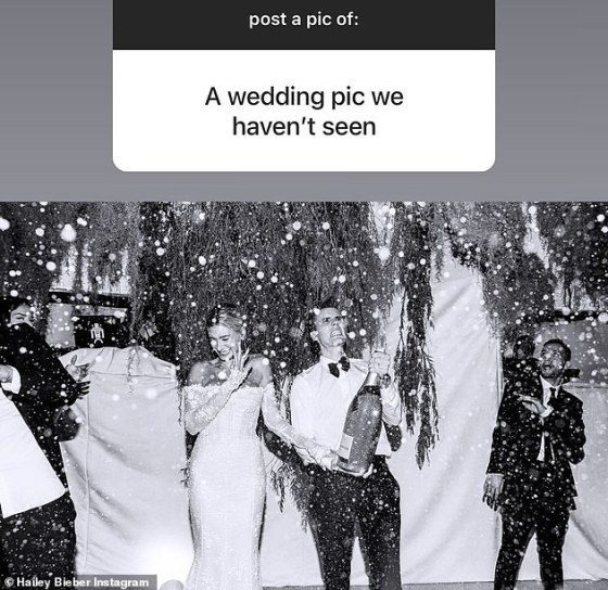 Wedding Bells: Hailey also shared a brand new picture from her and Justin's 2019 wedding while taking photos