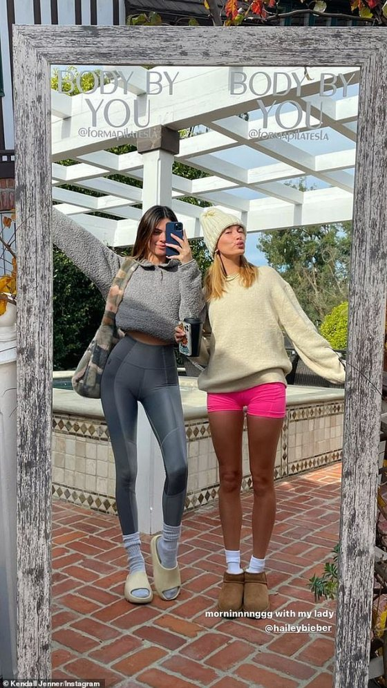Holiday Training: Kendall Jenner and Hailey Bieber shared a recording of their private Pilates training on Wednesday