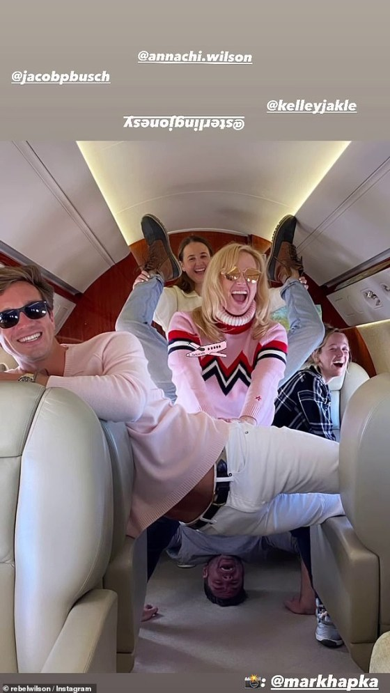 Fun times: On Thursday on her Instagram, the bridesmaid star posted a series of hilarious pictures of herself, her boyfriend and a friend posing hilariously on a private plane while waiting to take off