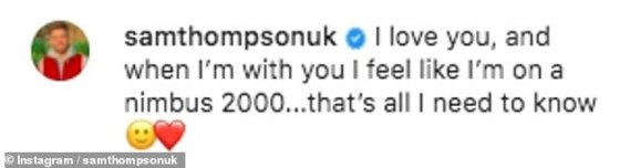Gushing: Sam said he was kissing girlfriend Zara again, with a beloved shot of their cuddle and a cute caption as he went to Instagram last Wednesday