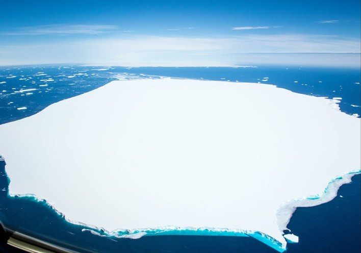 Pictured prominently in the foreground is A68d, the iceberg that broke off from the largest body, A68a, in December. In the background is A68a