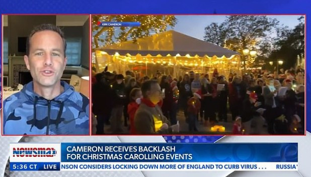 Cameron (during an interview on Wednesday) has given the slogan 'Mask Zapo' to criticize his two masked caroling protests in California.