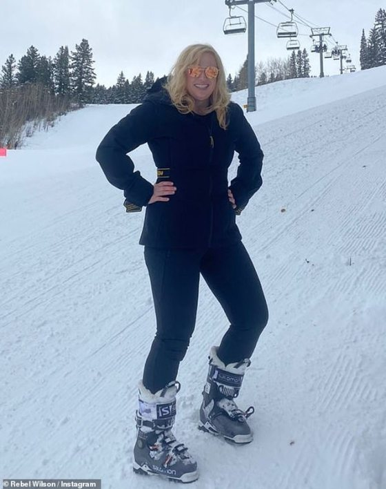 Who is that girl?  Rebel Wilson shows off her dramatic weight loss on the ski slopes in Aspen, Colorado